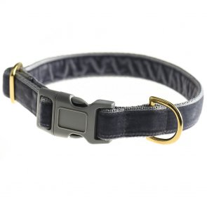 doggie apparel grey velvet dog collar
