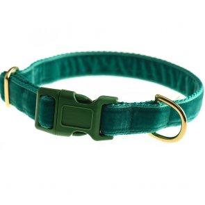 doggie apparel green velvet dog collar