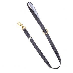 black dog lead with grey fleece handle