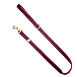 doggie apparel burgundy velvet dog lead