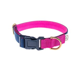 doggie apparel navy & cerise dog collar