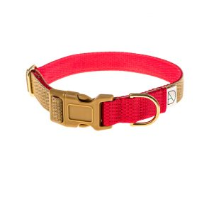 doggie apparel beige & red dog collar