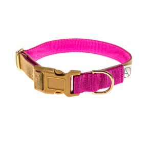 doggie apparel beige & cerise dog collar