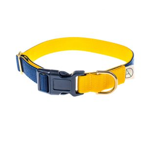 doggie apparel navy & yellow dog collar