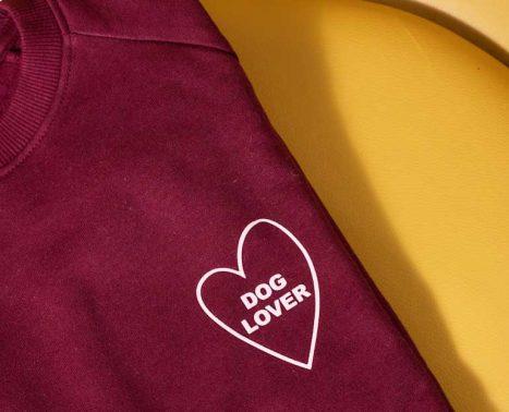 unisex burgundy dog lover jumper
